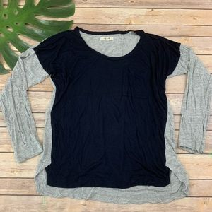 Madewell navy blue and gray color block tee